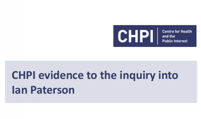 CHPI evidence to the inquiry into Ian Paterson