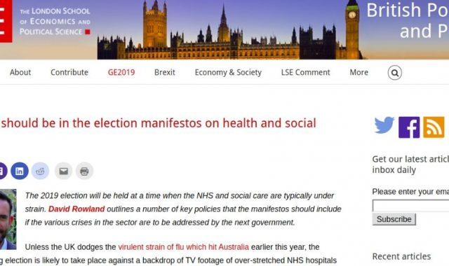 What should be in the election manifestos on health and social care?