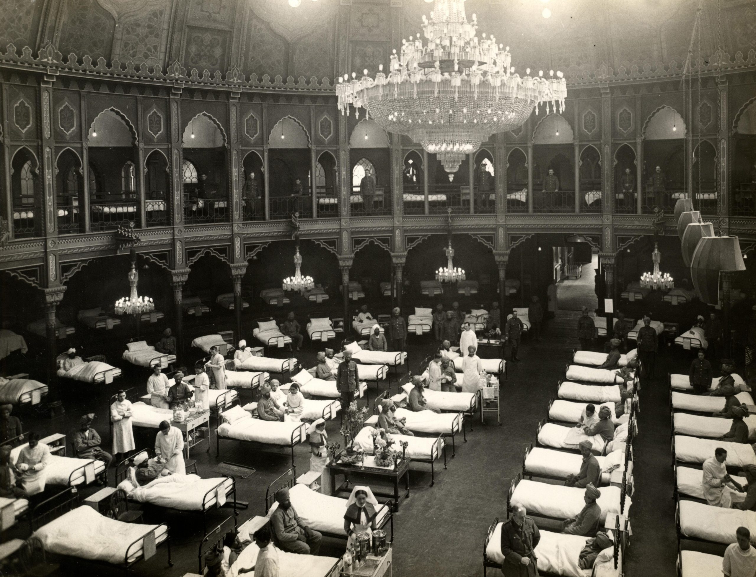 The dome hospital in Brighton fitted for use by soldiers during WW1