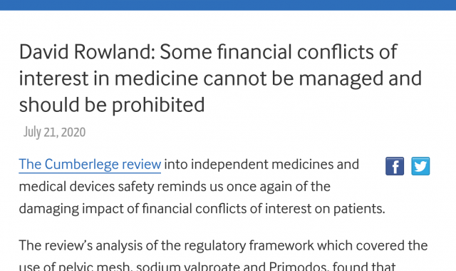 Some financial conflicts of interest in medicine cannot be managed and should be prohibited