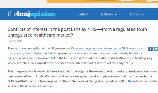Conflicts of interest in the post Lansley NHS—from a regulated to an unregulated healthcare market?