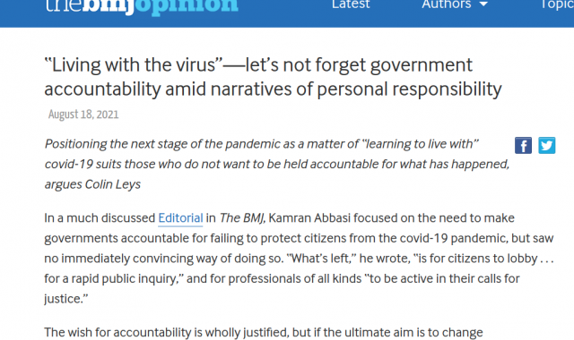 """""""Living with the virus""""—let's not forget government accountability amid narratives of personal responsibility"""